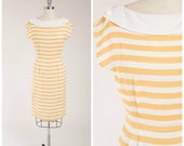 Vintage 1980s Dress • Cream and Citron • Striped Rayon 80s Sheath Dress Size Medium