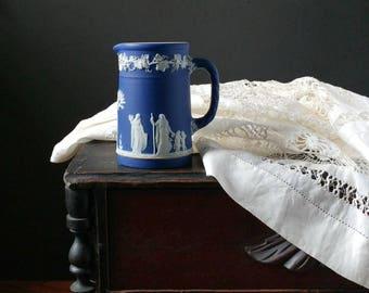 Antique Wedgwood cobalt blue jasperware, antique petite pitcher, milk pitcher, AS is, stoneware pitcher