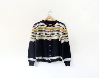 Vintage Scandinavian Style Wool Cardigan Sweater Ski / Fair Isle Women's Large / Medium