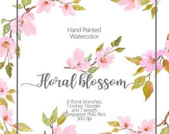 Watercolor floral clipart - Cherry Blossom Watercolor, Light Pink flowers, Watercolor spring flowers, Watercolor flower clipart, border