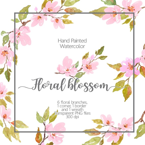 Watercolor floral clipart - Cherry Blossom Watercolor, Light Pink flowers, Watercolor spring ...
