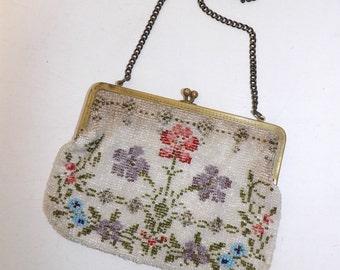 Vintage 1920s heavily beaded beadwork floral flower handbag grab bag purse chain strap