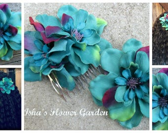 Teal, Turquoise and Purple Delphinium hair flower clip, realistic, single bloom or comb