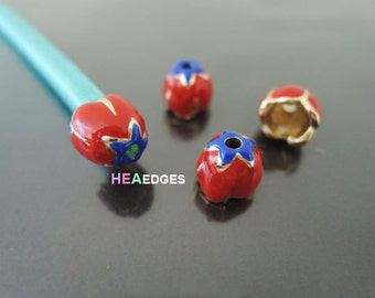 End Cap 6mm - 2pcs Red End Caps with Hole 9mm x 8mm ( Inside 6mm Diameter )