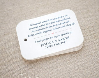 Sugared Almonds Personalized Gift Tags - Jordan Almond Favor Tags - Wedding Favor Tag - Wedding Bomboniere - Set of 15 (Item code: J682)