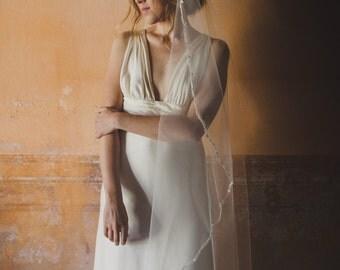 Wedding veil - mantilla veil - lace trim veil - bride long veil - bridal hair accessories - botanical wedding (#113)