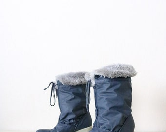 Damaged - Vintage Navy Faux Fur Lined Boots