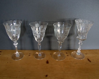 4 Different Antique Etched-Crystal Wine/Water Stem Glasses