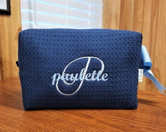 Personalized Cosmetic Bags Large Navy Waffle Weave Make Up Bags