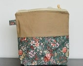 knitting project zip bag - small - country florals