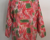 Pink Painter's Smock with 4 Pockets and Green Trim, Long Sleeve Apron, Artist Apron, Full Coverage, Iza Pearl Design Soft Aria Pink Flamingo