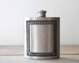 Masculine gift vintage metal flask / retro brushed pewter gray pocket flask / rustic etched collectible flask / masculine den desk decor