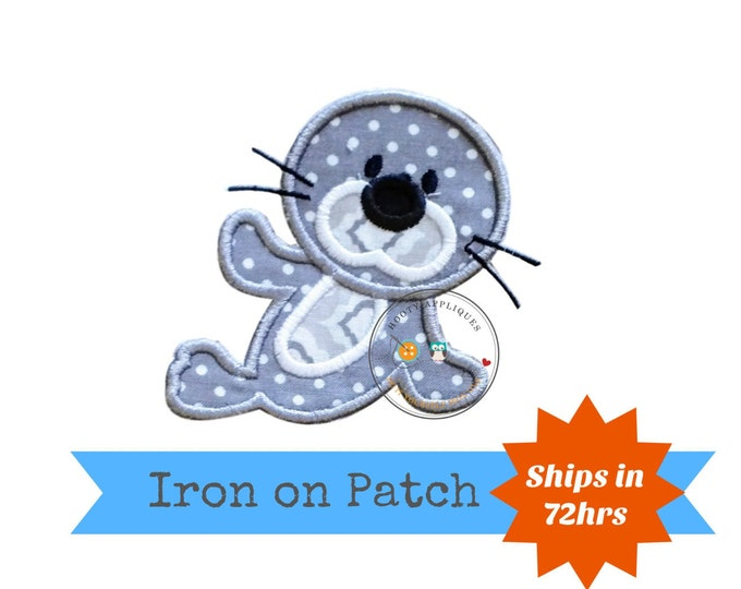 Gray and white baby seal iron on patch, small 4x4 seal machine embroidered fabric appliques, cute mammal shirt iron on applique, pre-made