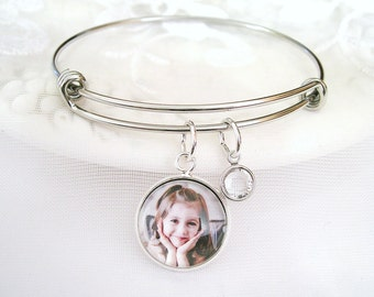 Photo Charm Bracelet Picture Bracelet Gift for Mother's Day Gift Personalized Photo Gift Mother's Birthstone Jewelry Wife Gift for Grandmom