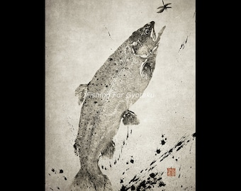 LEAPING RAINBOW TROUT (Niji Masu) - gyotaku print - traditional Japanese fish art by Dwight Hwang
