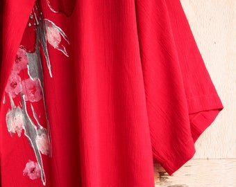 MASKIT Tunic, Beautiful Tunic, Scarlet-Red, Unique & Historical, Feminine Tunic, Decorated with Hand-Drawn Flowers,Vintage Tunic