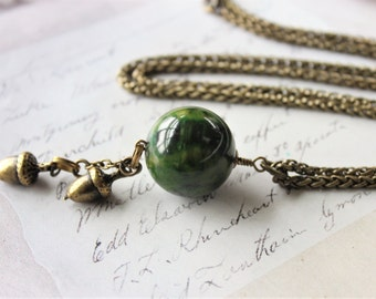 Bakelite Necklace Acorn, Marbled Green Bakelite Bead Necklace Long, Acorn Jewelry Fall, Spinach Bakelite Up cycled jewelry veryDonna