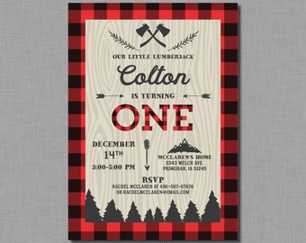 Lumberjack First Birthday Invitation buffalo plaid invitation lumberjack birthday party 1st birthday boy James MB11 Digital or Printed