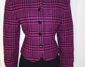 HOT PINK HOUNDSTOOTH // 90's Jh Collectibles Black Pink Wool Blazer Button Down Size 6 Shoulder Pads Career Woman Working Girl
