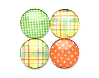 Glass Magnets - Refrigerator Magnets - cute magnets - orange magnets - green magnets - office magnets - office accessories - magnet boards