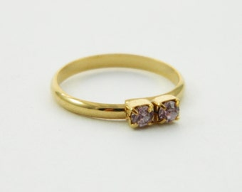 Light Amethyst Two Stone Midi Ring