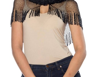 Black Beaded Shawl Size: Free