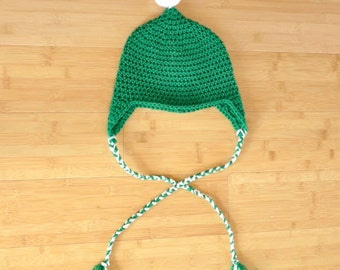 Green Ski Gnome Hat - Teen / Tween St. Paddy's Day Hat - Green Ear Flap Hat - Green St. Patrick's Day Hat with Ties, Tassels and PomPom
