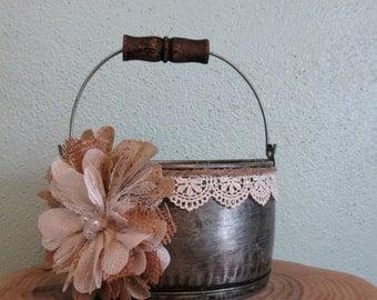Wedding Bucket - Flower Girl Bucket - Burlap and Lace Wedding Basket - Rustic Flower Girl Basket - Wedding Basket - Wedding Pail