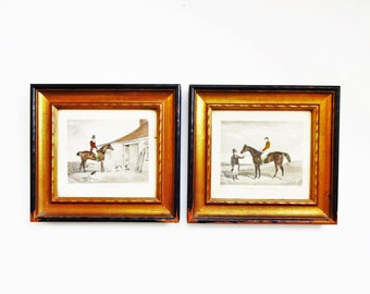 Vintage Framed Victorian Hunting and Horse Engravings / Equestrian Prints