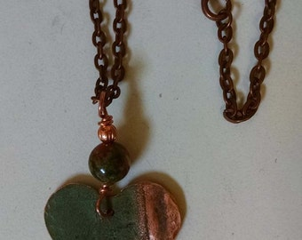 Bangor Public Library Copper Roof Heart Necklace With Jasper Bead Limited Edition RM