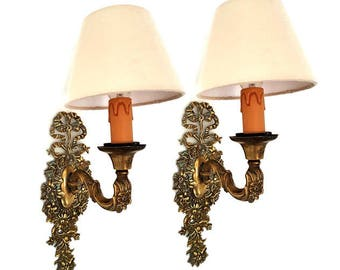 French Pair of Bronze Wall Sconces,Antique Gilt Bronze Wall Sconces with Shades, Wall Sconces Lights whit Flowers and Ribbon