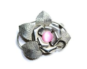 Silver Coloured & Pink Flower Leaves Brooch (c1950s) - Wedding