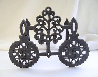 Vintage Cast Iron Trivet Letter Holder, Napkin Holder, Americana, Colonial Decor, Pennsylvania Dutch, Country, Folk Art, Forged Iron