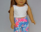 """American Doll Lilly Pulitzer® Fabric Palazzo Pants in """"Pop Pop"""" - White Eyelet Cropped Top - 18"""" Doll Mix & Match Separates - Doll Headband"""