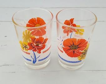 Vintage Glasses Tumblers Orange Floral