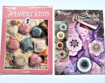 Vintage Pattern Pamphlets of Crochet Sachet Ornaments by the Needlecraft Shop and  Heavenly Scents Sachets by Leisure Arts