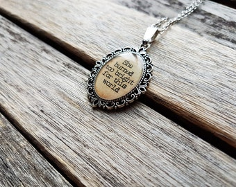 She burned too bright for this world - Emily Brontë Quote - Emily Brontë Pendant - Wuthering Heights-Literature Jewelry-Gift for Book Lovers