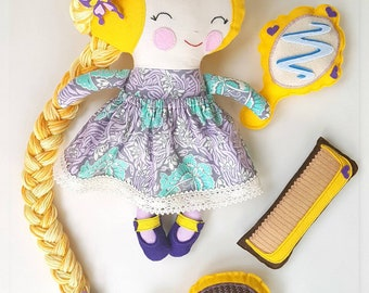 Rapunzel fabric doll-Toy doll-Cloth doll-Golden hair-Christmas-Handmade-Keepsake-Unique-For girls-Birthday-Babyshower-Collectible doll