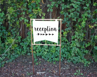 Copper Wedding Reception Sign, Directional arrow sign Copper Wedding Modern Wedding Reception Sign Metallic Wedding Sign Industrial Wedding