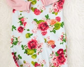 floral on blue with pink sleeves modern pull on romper. 9-12 month ready to ship.  girl outfit