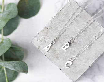 Tiny Sterling Silver Initial Necklace • Letter Necklace • Silver Initial Pendant • Initial Jewelry • Personalised Necklace • Custom Necklace