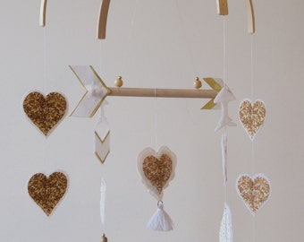 Crib Mobile - Modern Arrow & Hearts Mobile - Gold/white