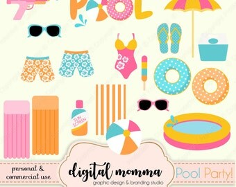Pool Party Clipart Set, Pool Essentials, Beach Clipart, Summer Fun Clipart, .PNG, Instant Download!