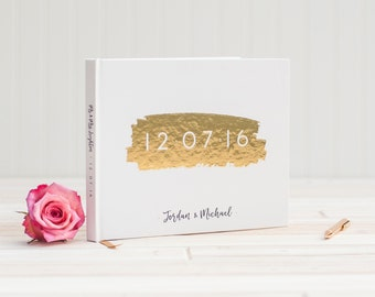 Wedding Guest Book landscape horizontal wedding guestbook with Real Gold Foil personalized ...