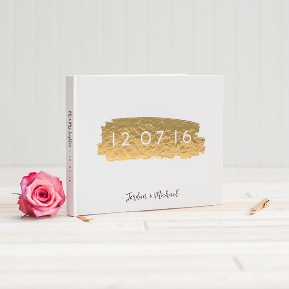 Wedding Guest Book landscape horizontal wedding guestbook with Real Gold Foil personalized wedding photo album planner instant photo booth