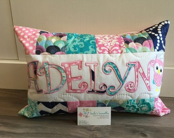 Pink, teal and navy, children's personalized pillow case, custom made, 12x18 inches