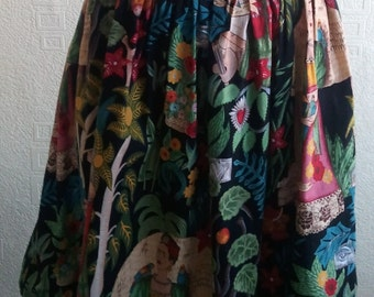 Handmade Alexander Henry's Frida's Garden Fabric full Midi style skirt Mexico Day Of Dead Rockabilly