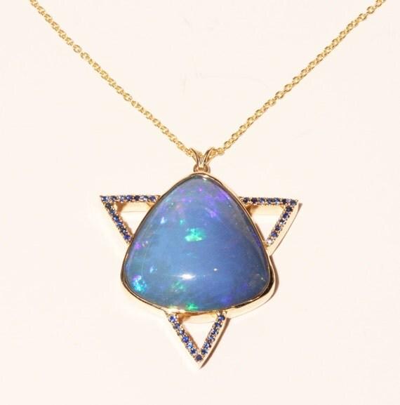 Blue Opal Pendant - 14k Gold w/ Sapphire  - Necklace- Custom Jewelry #1419 Watch Video