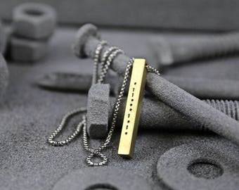 Morse Code Bronze Bar Necklace - Secret Message Necklace - Men's Necklace - Unisex Jewelry - Personalized Necklace by Modern Out
