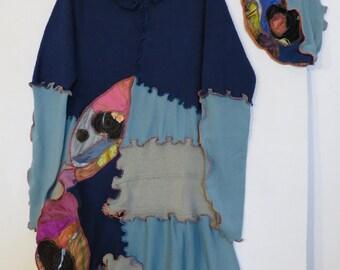 upcycled dress, women's dress, mini dress, long sleeve cotton dress, dress, dress, dress shirt, Aubrey woman spring, turquoise blue dress